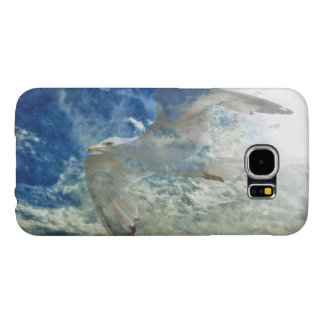 Diseño transparente del arte moderno de la gaviota fundas samsung galaxy s6