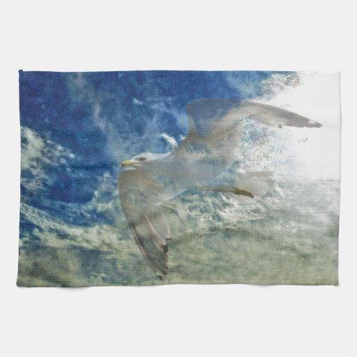 Diseño transparente del arte moderno de la gaviota toallas