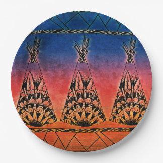 Diseño tribal colorido de Boho del arte de las Platos De Papel