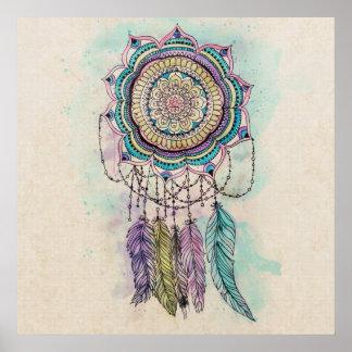diseño tribal de la mandala del dreamcatcher de la póster