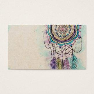 diseño tribal de la mandala del dreamcatcher de la tarjetas de visita