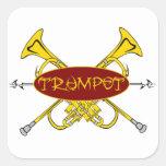 Diseño tribal de la trompeta calcomania cuadrada personalizada