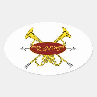 Diseño tribal de la trompeta pegatina ovalada