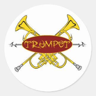 Diseño tribal de la trompeta pegatina redonda