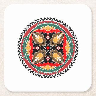 Diseño tribal del cono del pino del bosque del posavasos desechable cuadrado