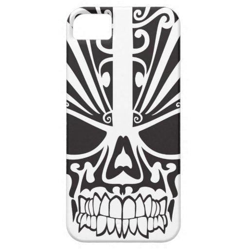 Diseño tribal del cráneo iPhone 5 fundas