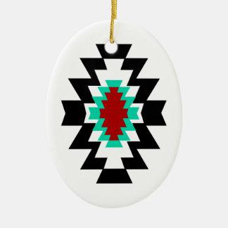 Diseño tribal del nativo americano azteca del adorno navideño ovalado de cerámica
