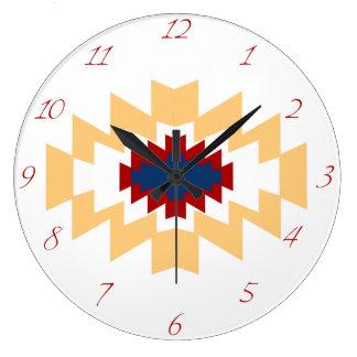Diseño tribal del nativo americano azteca del reloj redondo grande