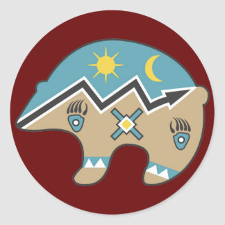 Diseño tribal del oso pegatina redonda
