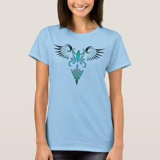 Diseño tribal del pájaro (azul) playera