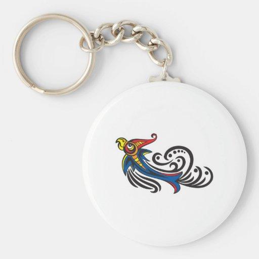 Diseño tribal del pájaro del dragón llaveros