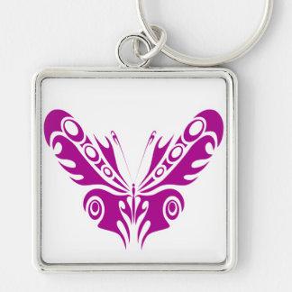Diseño tribal del tatuaje de la mariposa llavero cuadrado plateado