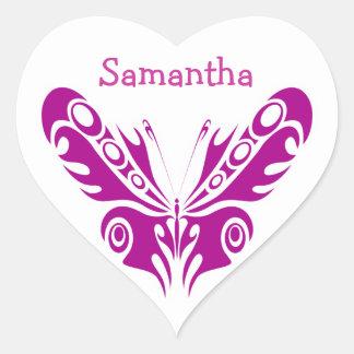 Diseño tribal del tatuaje de la mariposa calcomanía corazón personalizadas