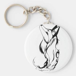 Diseño tribal del tatuaje del Fox Llavero Redondo Tipo Pin