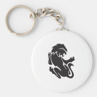 Diseño tribal del tatuaje del león llavero redondo tipo pin