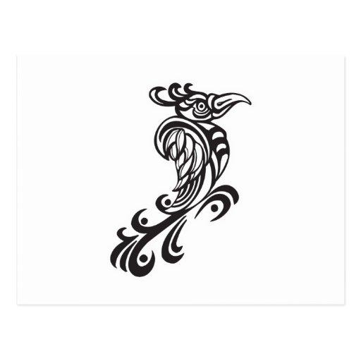 Diseño tribal del tatuaje del pájaro tarjeta postal