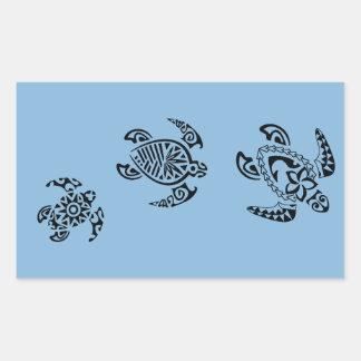 Diseño tribal del trío de la tortuga etiqueta