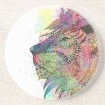 Diseño tribal impresionante del león de la posavasos personalizados