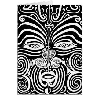 Diseño tribal maorí antiguo del tatuaje de Moko Tarjeta De Felicitación