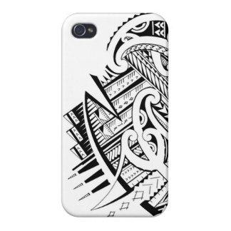 Diseño tribal mezclado del tatuaje en estilo maorí iPhone 4 carcasa