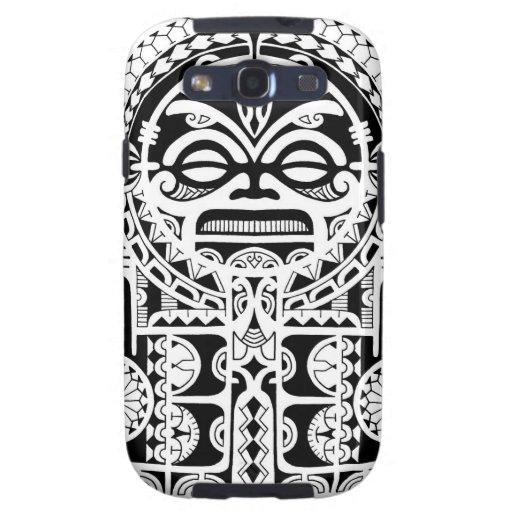 Diseño tribal polinesio del tatuaje con la máscara samsung galaxy SIII funda