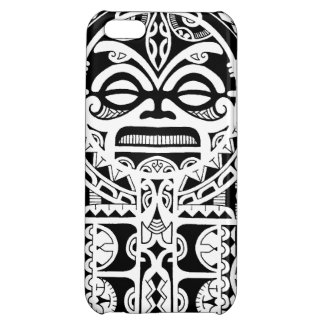 Diseño tribal polinesio del tatuaje con la máscara