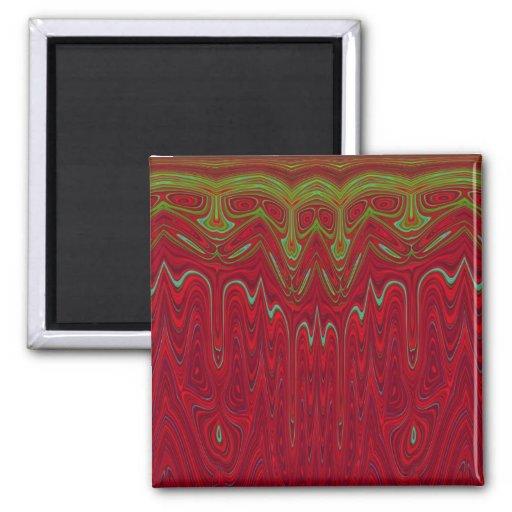 Diseño tribal rojo y verde abstracto imán para frigorifico