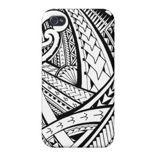 Diseño tribal samoano del tatuaje con las puntas d iPhone 4 fundas