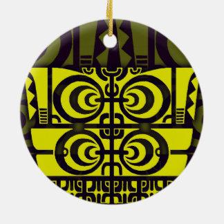 Diseño tribal simétrico brillante del tatuaje de adorno redondo de cerámica