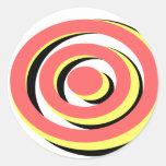 Diseño tricolor retro de Hypno de la diversión Pegatina Redonda