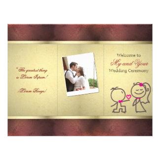 """Diseño triple del aviador del oro del boda lindo folleto 8.5"""" x 11"""""""