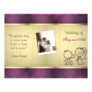 "Diseño triple del oro del boda lindo púrpura del folleto 8.5"" x 11"""
