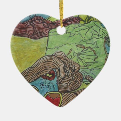 Diseño Trippy de las ilustraciones Adorno Navideño De Cerámica En Forma De Corazón