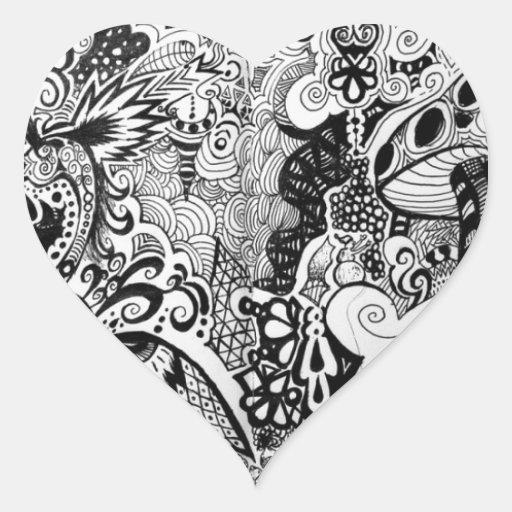 Diseño Trippy del arte Pegatina En Forma De Corazón