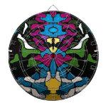 Diseño trippy psicodélico abstracto de la medusa tabla dardos