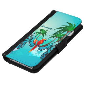 Diseño tropical con el loro y las flores funda cartera para iPhone 6