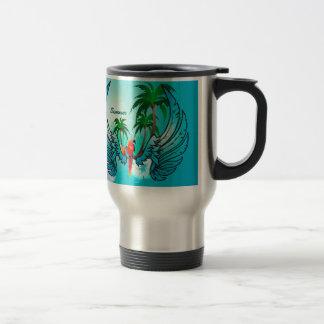 Diseño tropical con el loro y las flores taza de viaje de acero inoxidable