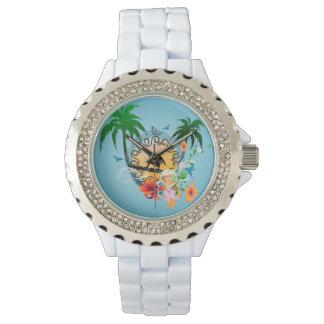 Diseño tropical con el surfboarder reloj de mano
