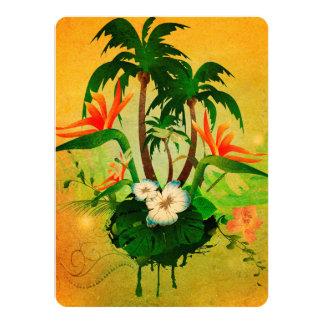 """Diseño tropical con las flores y las palmeras invitación 5.5"""" x 7.5"""""""