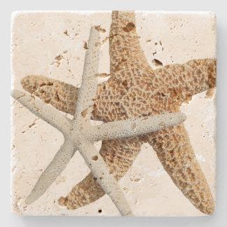 Diseño tropical de dos estrellas de mar posavasos de piedra