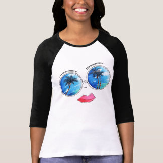 Diseño tropical de la camiseta de las gafas de sol playeras