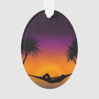 Diseño tropical de la silueta de la puesta del sol