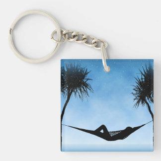 Diseño tropical de la silueta del cielo azul de la llavero cuadrado acrílico a doble cara
