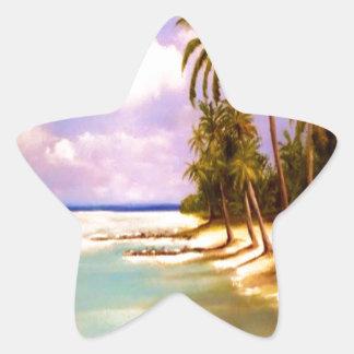 Diseño tropical del paraíso pegatina en forma de estrella