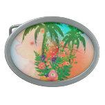 Diseño tropical del verano hebillas cinturon ovales