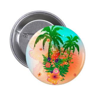 Diseño tropical del verano pin redondo 5 cm