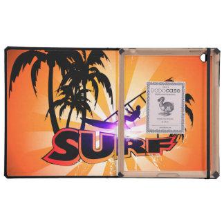 Diseño tropical, surfboarder con la palma iPad cobertura