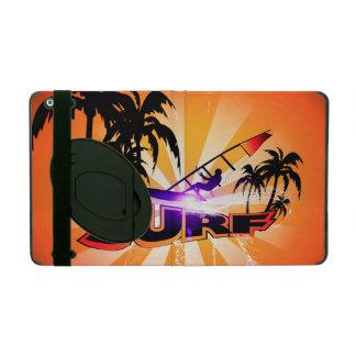 Diseño tropical, surfboarder con la palma iPad carcasa