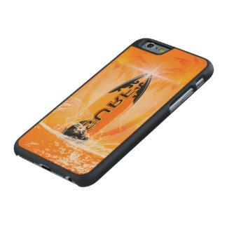Diseño tropical, tabla hawaiana con la palma funda de iPhone 6 carved® slim de arce