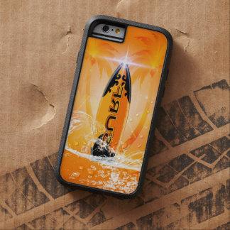 Diseño tropical, tabla hawaiana con la palma funda de iPhone 6 tough xtreme